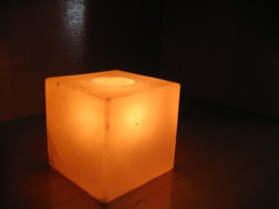 Cube of Himalayan Salt made into a Candle Holder