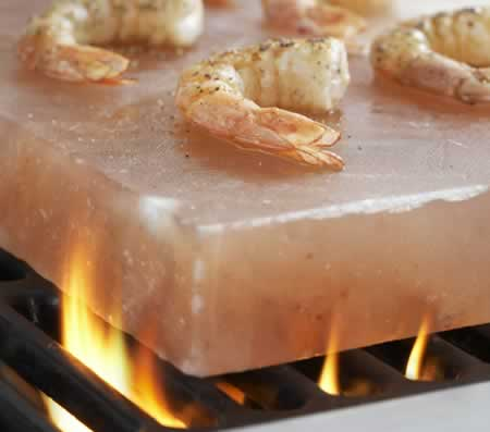 Cooking Shrimp on a Beautiful Himalayan Salt Plate
